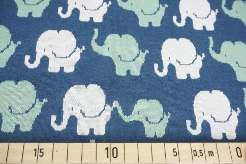 Elefanten blau/grün -Jacquard-