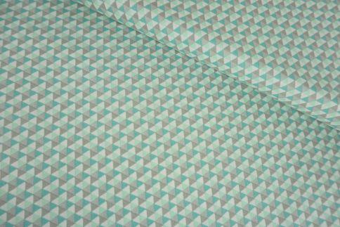 Kleine Dreiecke mint/beige Baumwolle