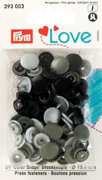 Druckknopf Color Snaps, Prym Love, 12,4mm, grau